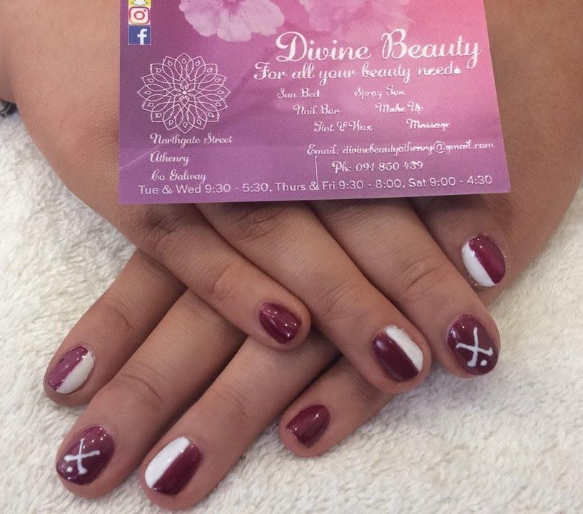Divine Beauty Maroon and White Nails – Kiltullagh Killimordaly