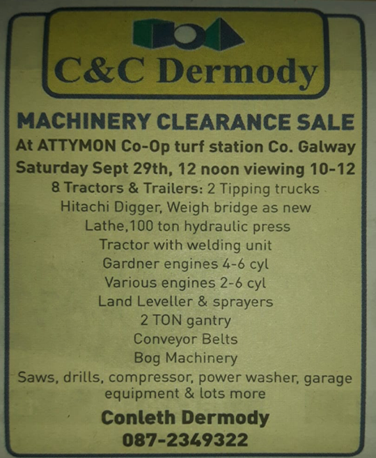 MACHINERY CLEARANCE SALE at Attymon Co-op turf station